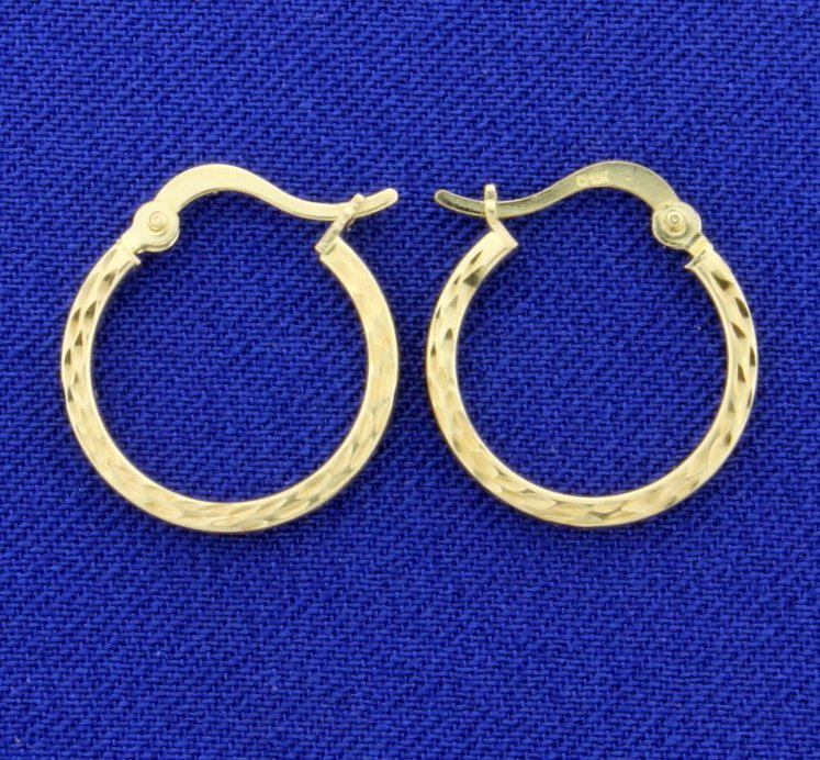 Diamond Cut Yellow Gold Hoop Earrings