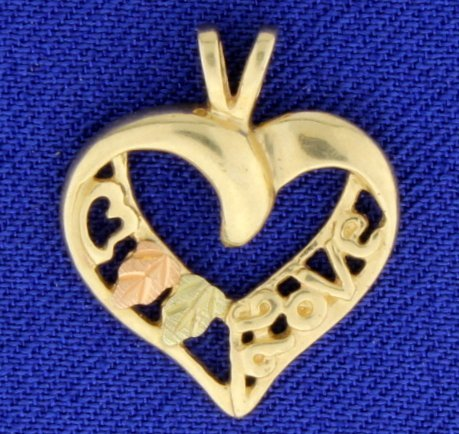 Love Heart Pendant in Yellow and Rose Gold