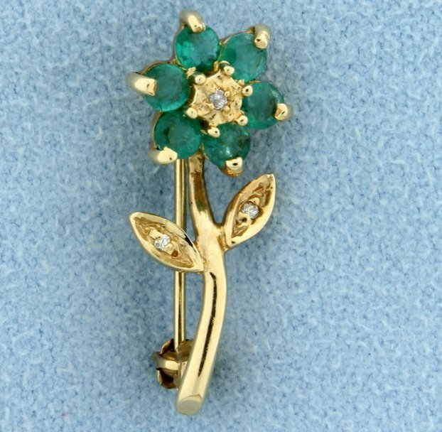 Emerald and Diamond Flower Pin