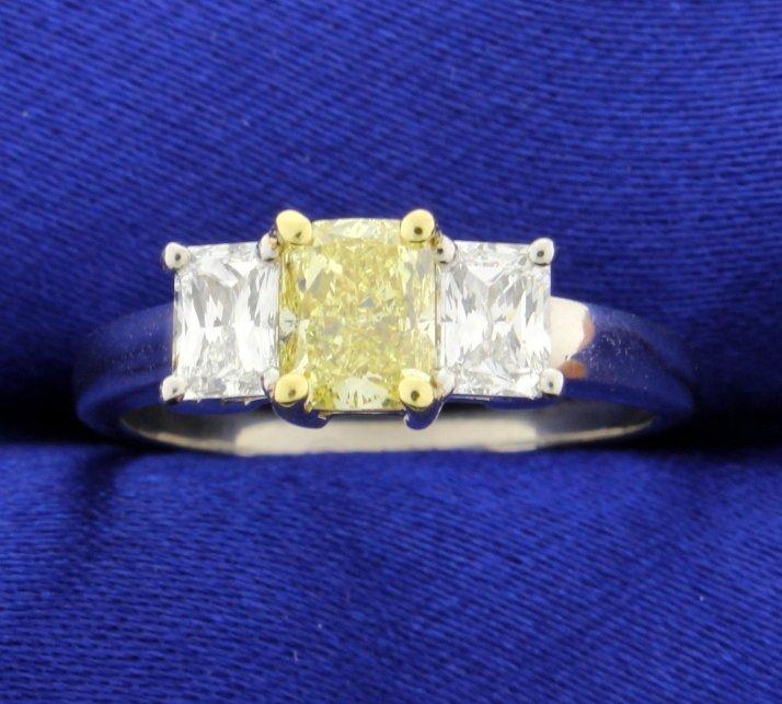 1.01 carat Fancy Yellow diamond ring