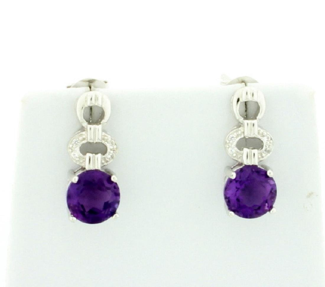 Genuine Amethyst Cartier Style Dangle Earrings