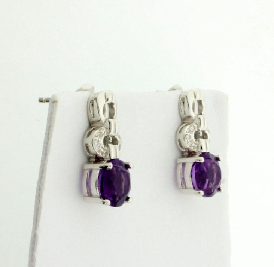 Genuine Amethyst Cartier Style Dangle Earrings - 2