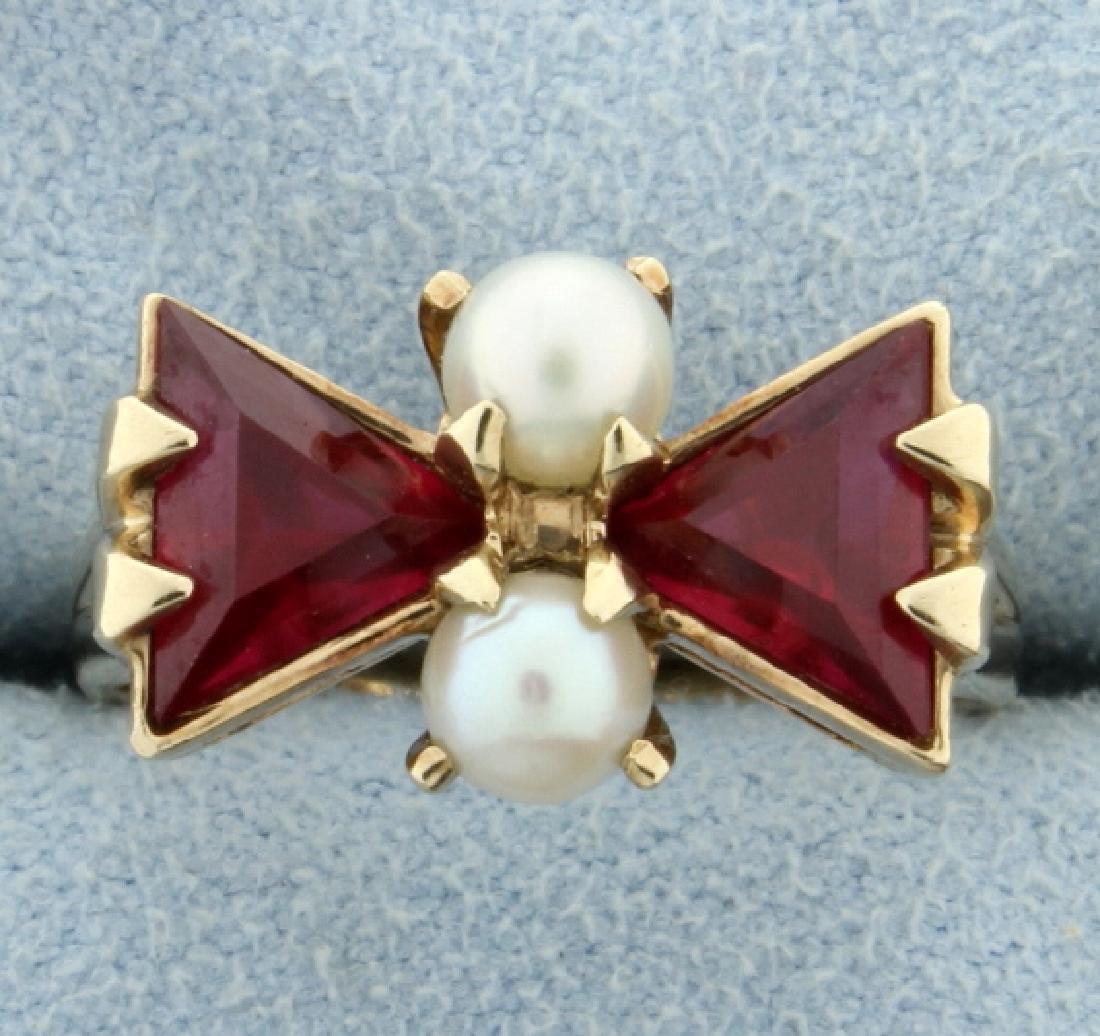 Lab Ruby & Pearl Ring