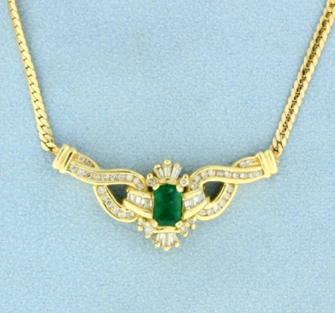 Diamond & Natural Emerald Necklace
