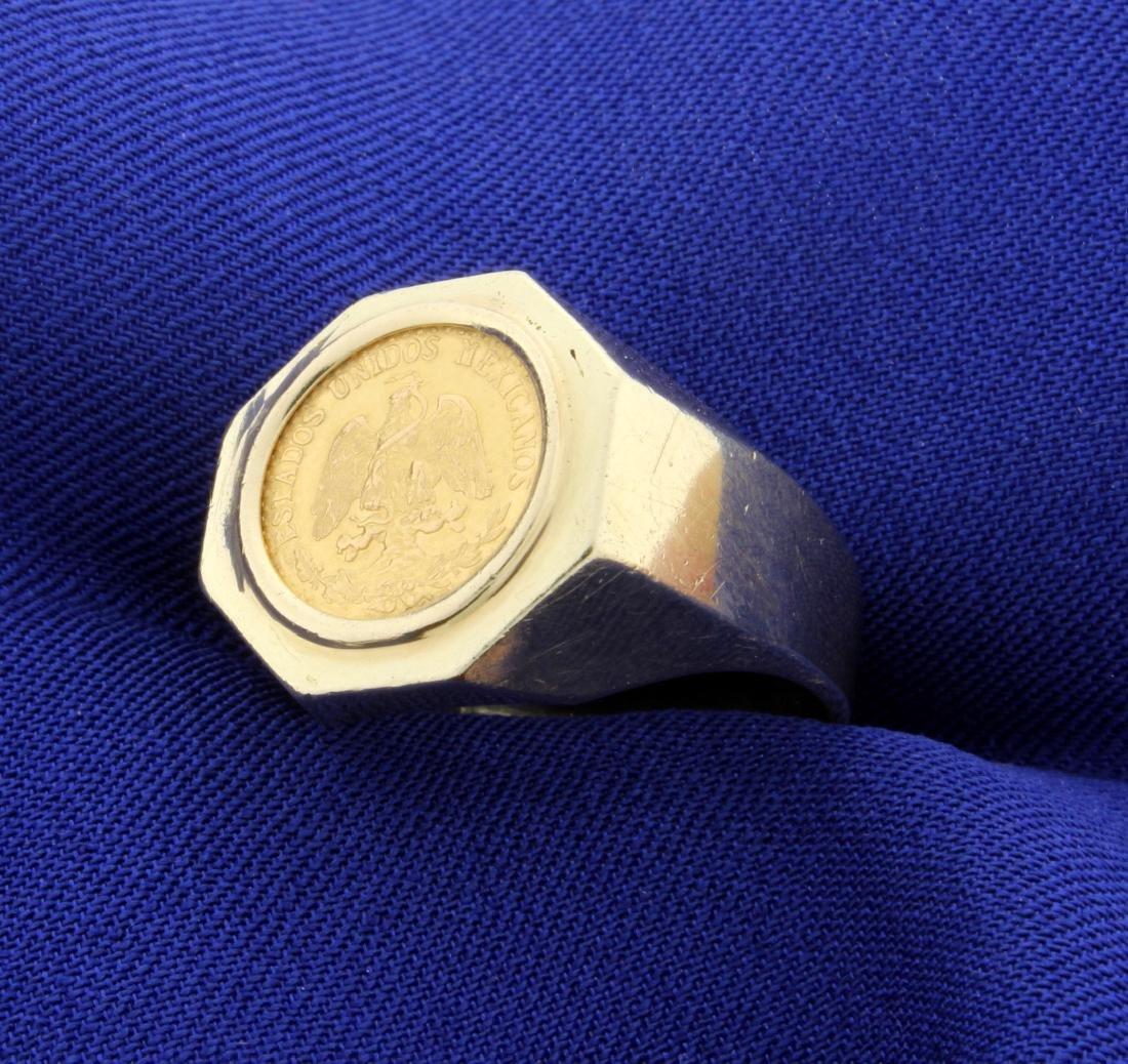 Mexican Dos Pesos Gold Coin Ring - 2