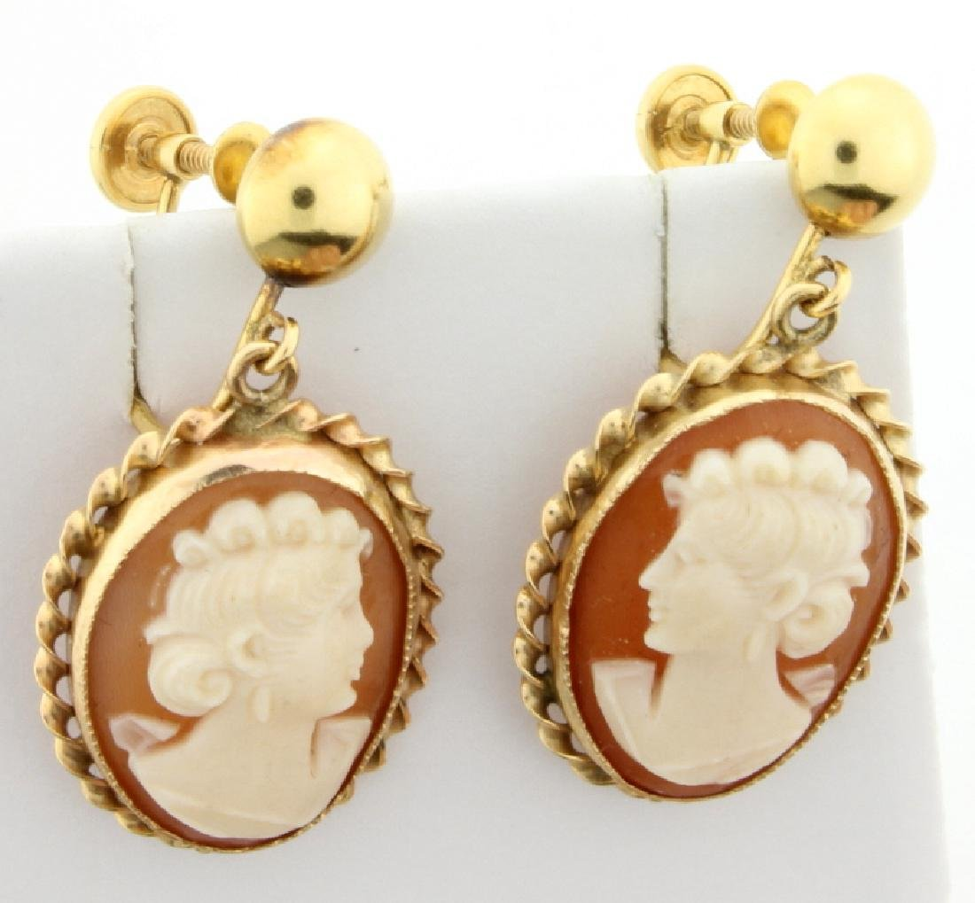 Vintage Screw Backs Cameo Earrings - 2