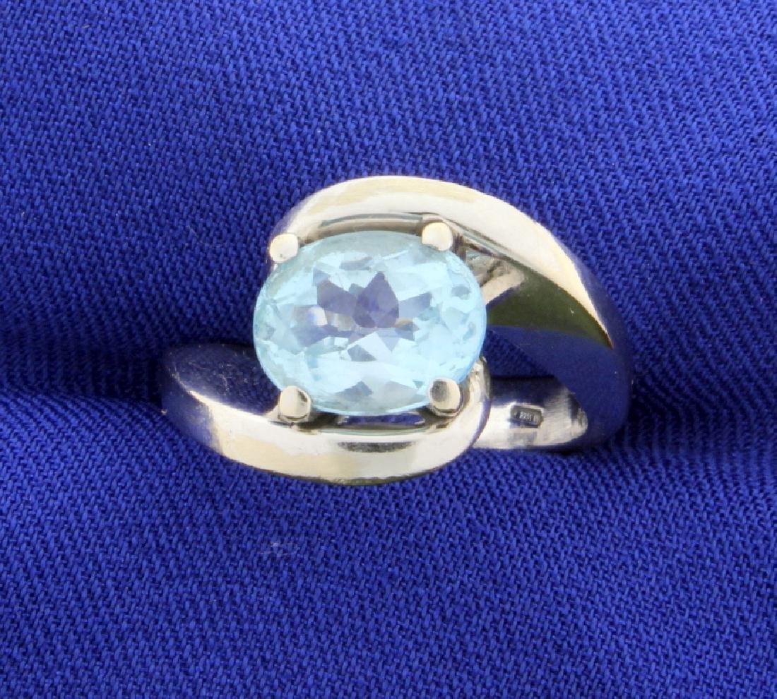 18k 3ct Sky Blue Topaz Ring