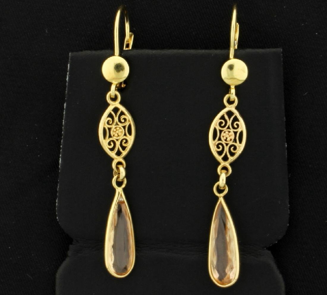 Champagne Quartz Tear Drop Earrings