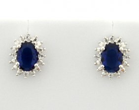 Sterling Silver Earrings With Lab Sapphire