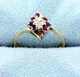 Diamond & Ruby Fashion 14k Ring