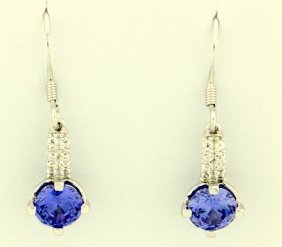 Sterling Silver Earrings With Lab Tanzanite