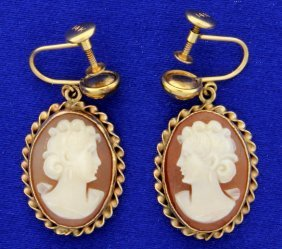 Vintage Screw Backs Cameo Earrings