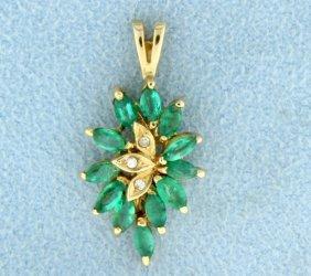 Natural Emerald & Diamond Pendant