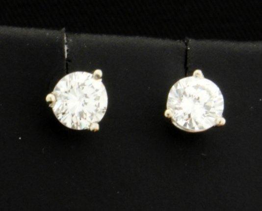PLATINUM .80 Carat TW Diamond Stud Earrings!