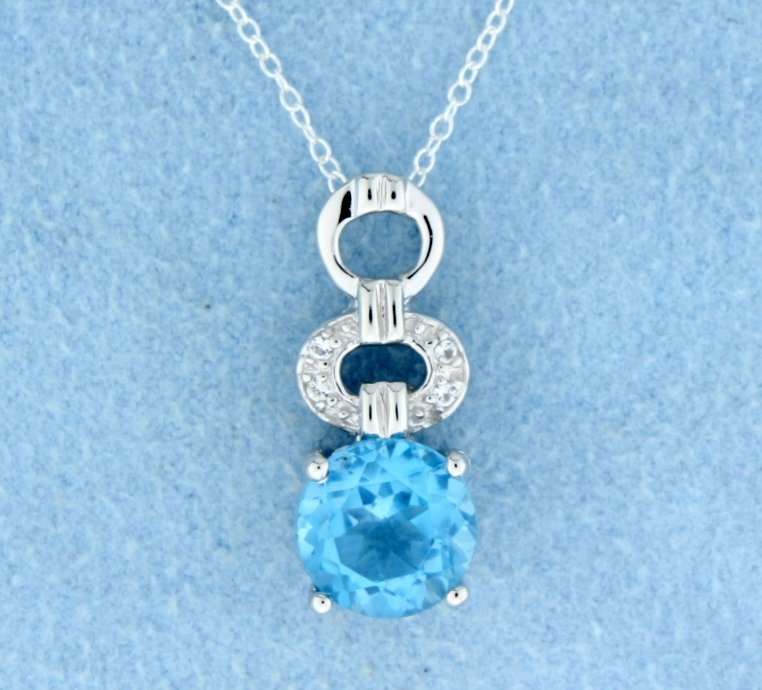 Blue Topaz Sterling silver pendant with sterling silver
