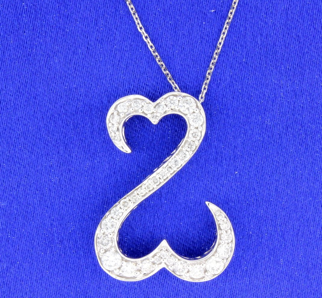 """1 carat """"Open Heart"""" pendant with chain"""