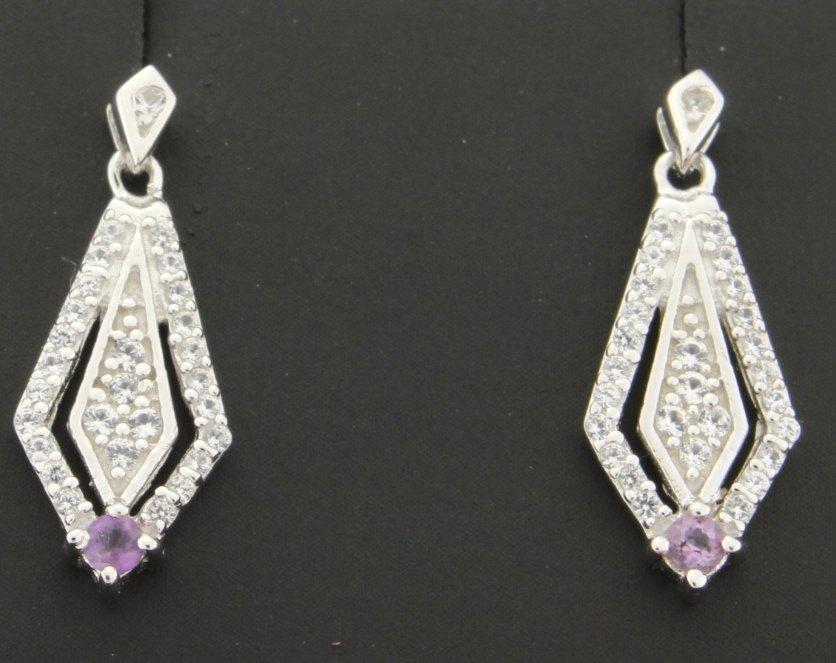 Sterling silver earrings with genuine Amethyst