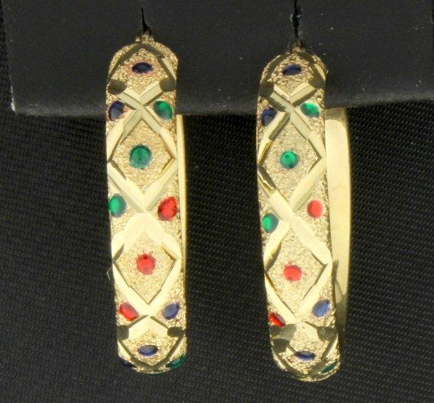 Emerald, Ruby, & Sapphire Hoop Earrings