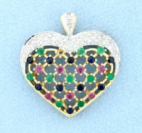 Ruby Emerald And Sapphire 10k Pendant