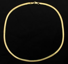 Italian Made 16 Inch Gold Herringbone Necklace Chain