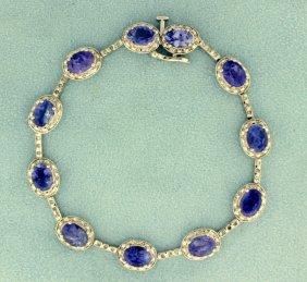 11ct Total Weight Tanzanite & Diamond Bracelet
