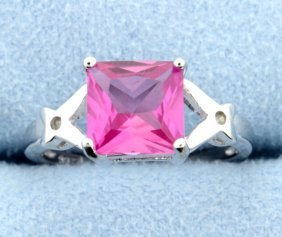 Sterling Silver Ring With Lab Pink Sapphire & Diamond