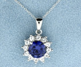 Sterling Silver Pendant With Lab Tanzanite