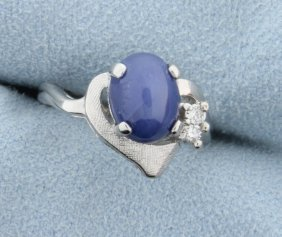 2.5ct Star Sapphire & Diamond Ring