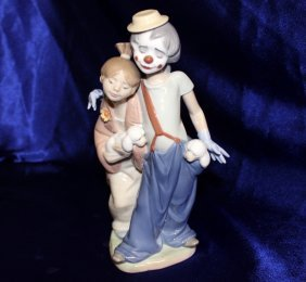 """Lladro Retired """"pals Forever"""" Clown With Girl"""