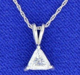 Trillion Diamond Solitaire Pendant With Chain