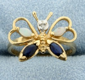 Diamond, Sapphire, And Opal Butterfly Ring