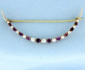 Vintage Amethyst And Seed Pearl Pin