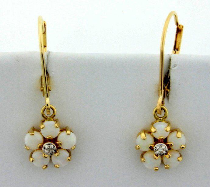 Opal & Diamond Flower Earrings