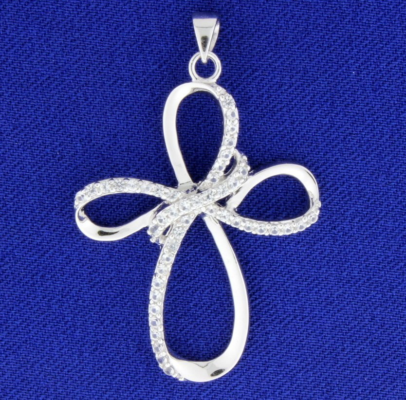 White Sapphire Sterling Silver Cross Pendant