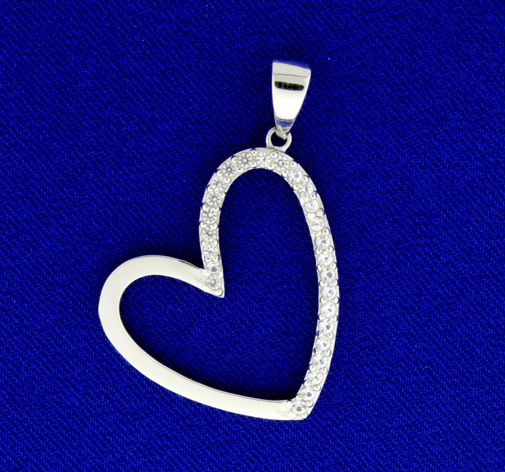Sterling Silver Heart Pendant half encrusted with White