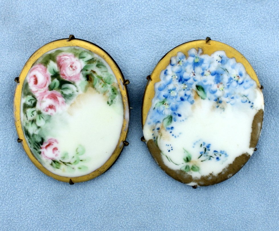 Two Antique Hand Painted Pins