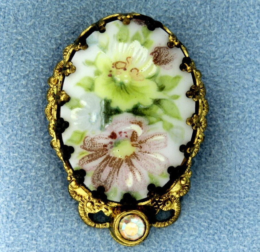 "Vintage Hand Painted Clip on Flower ""Pin"""