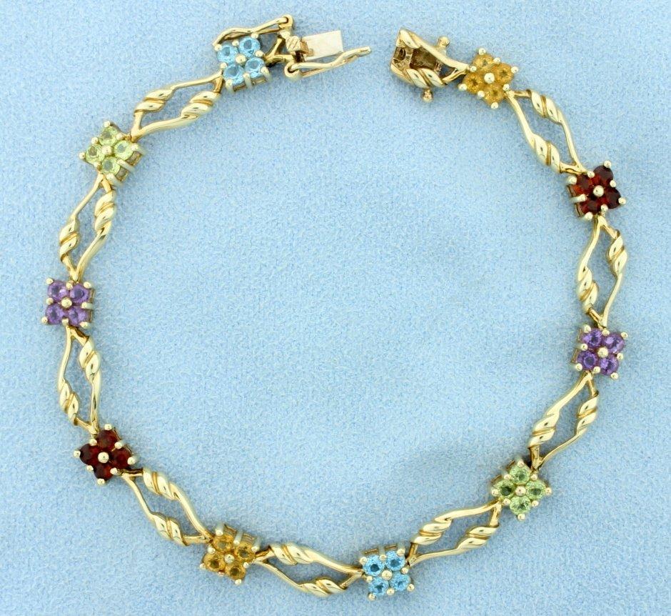 Citrine, Peridot, Amethyst, & Garnet Bracelet