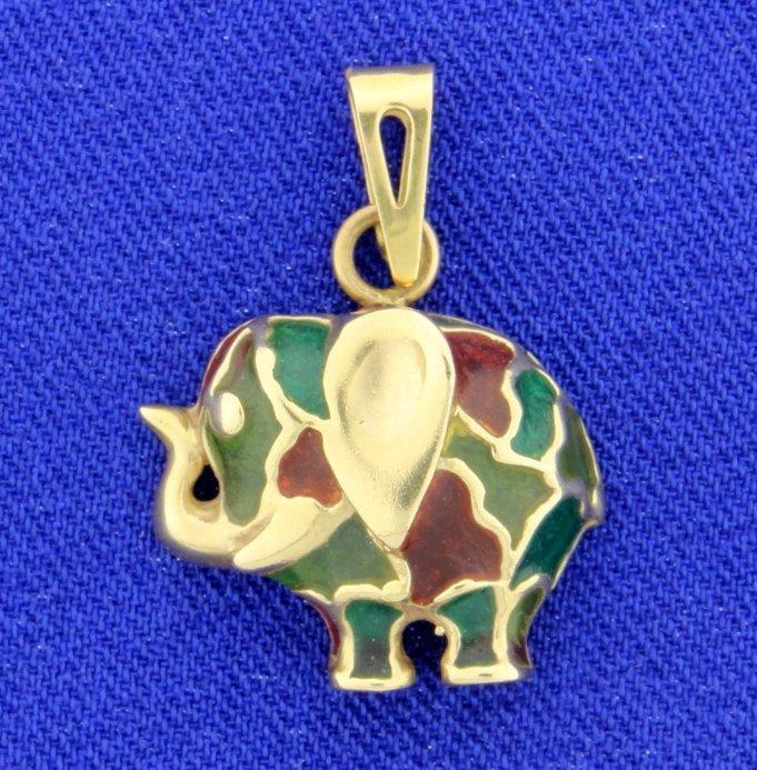 Art Glass Elephant pendant in 14k yellow gold