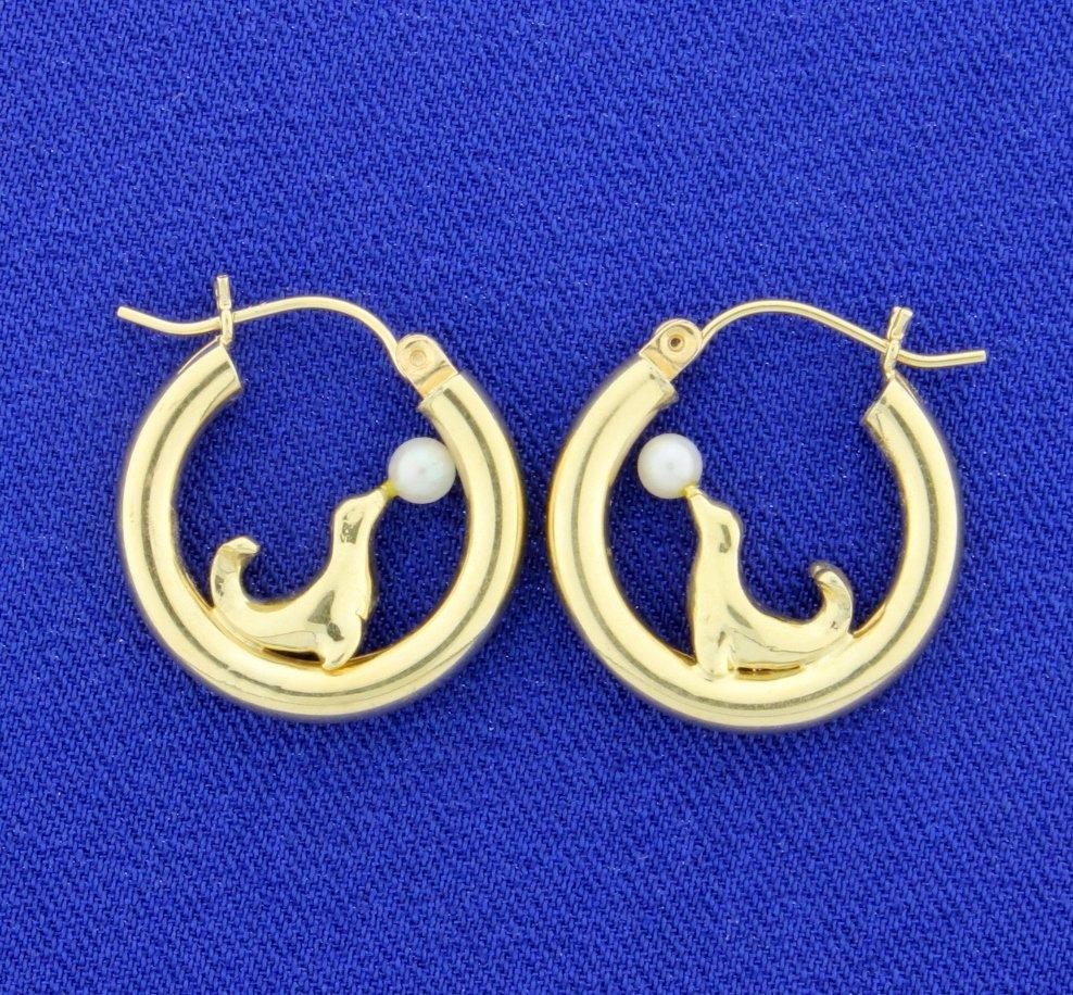 Seal Pearl Hoop Earrings
