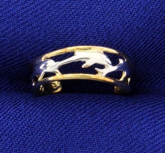 10K Dolphin Toe Ring