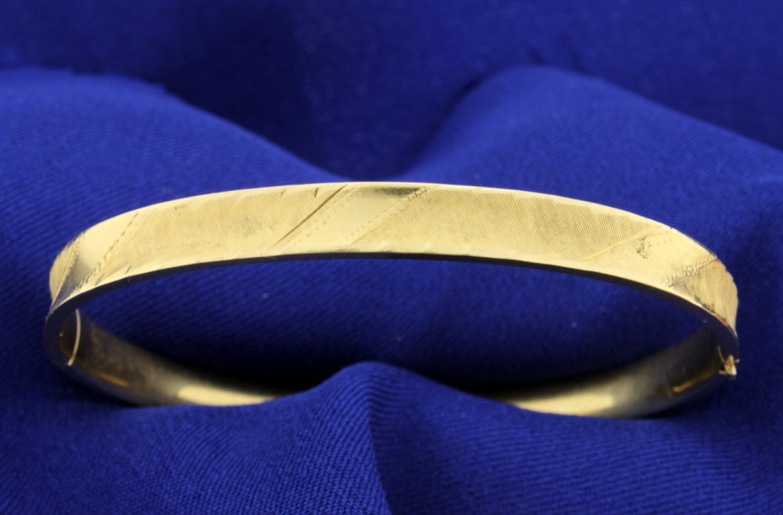14k Bangle Bracelet Engraved & Hinged!