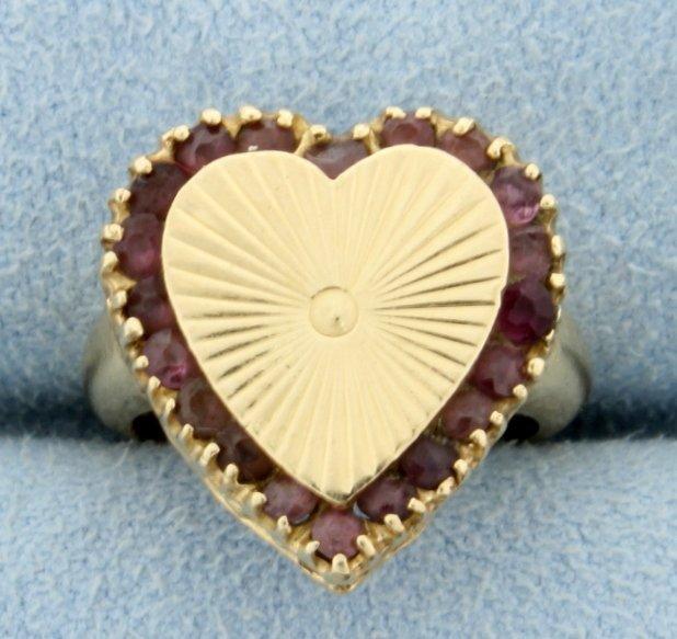 Amethyst Heart Pinky Ring