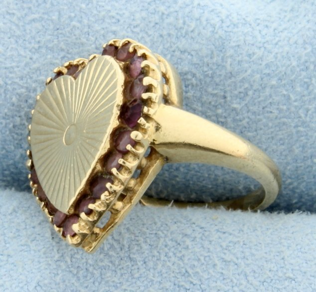 Amethyst Heart Pinky Ring - 2
