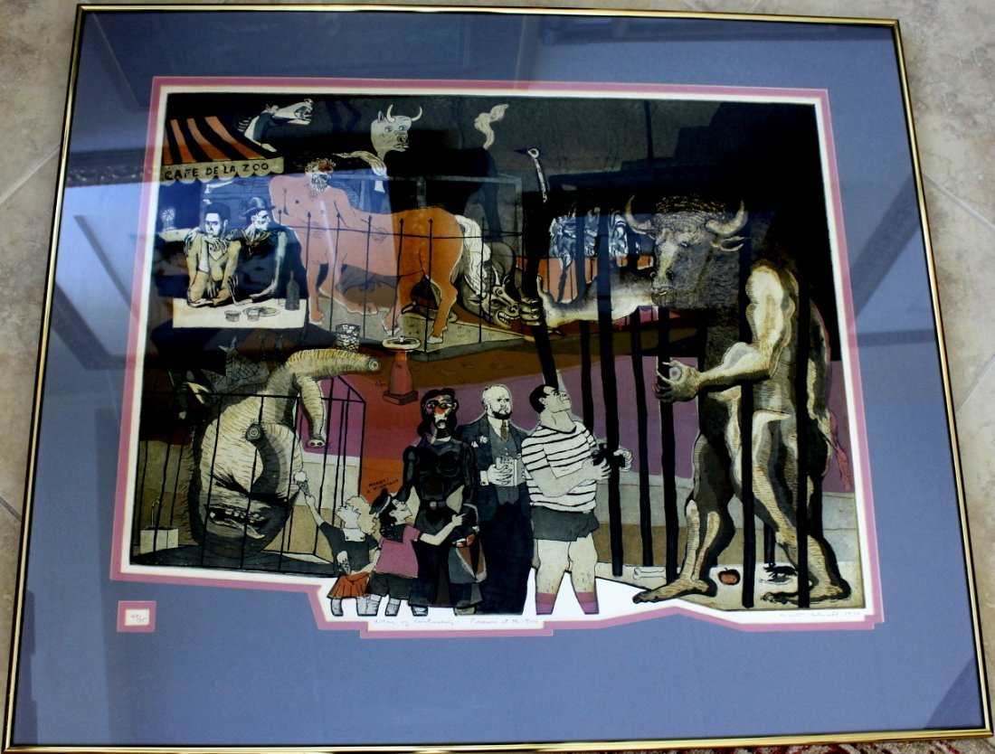 Picasso at the Zoo by Colescott Lithograph
