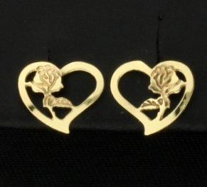 Heart with Rose Earrings