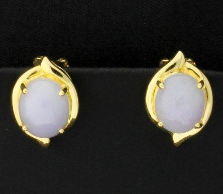 18k 6ct TW Moonstone Clip-On Earrings