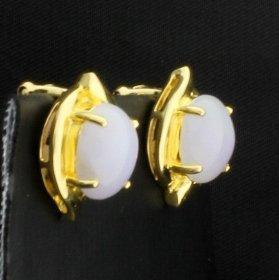 18k 6ct TW Moonstone Clip-On Earrings - 2