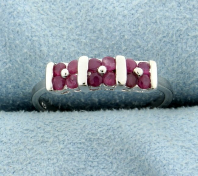 Ruby Ring in Platinum over Sterling Silver