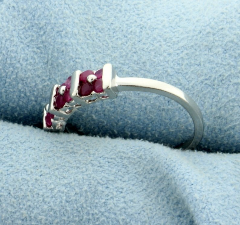 Ruby Ring in Platinum over Sterling Silver - 2